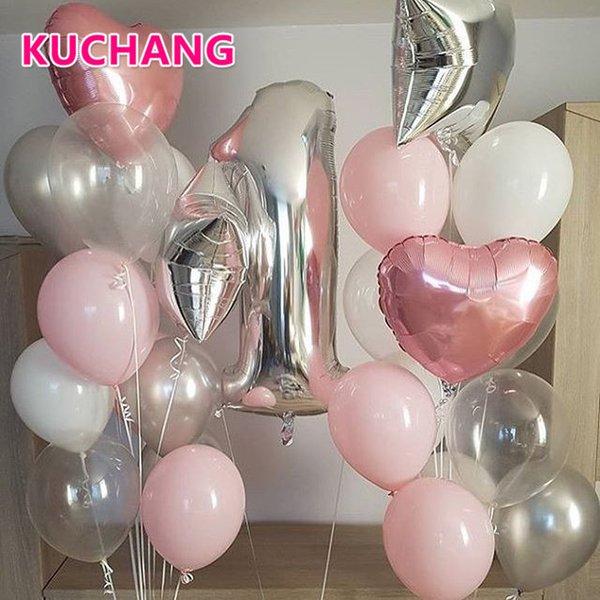 29 teile / los 40 inch Silber Nummer 1 18 zoll Herz Sterne Folie Latex Ballons Baby Dusche Mädchen 's. Jahrestag Geburtstag Party Decor