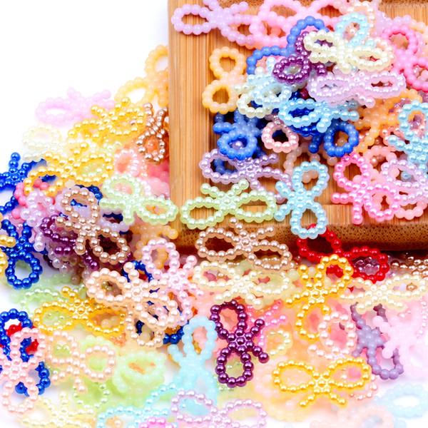 60pcs 18x10mm Bowknot Shape Many Colors Imitation Half Pearls Flatback Nail Art DIY Jewelry Crafts Cellphone Laptop Decoration