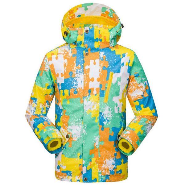 Winter Two Piece Children Camouflage Thermal Snowboarding Jackets Waterproof Skiing Coats Hooded Zipper Outdoor Sport Jackets