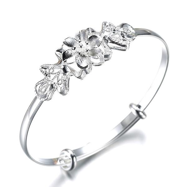 Nuevo diseño personalizado Pulsera de empuje Empuje la pulsera de la joyería de cristal plateado para las mujeres Cubic Crystal Zircon Flower Bangle Nuevo diseño