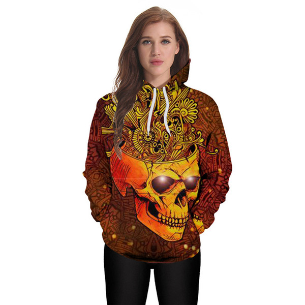 Wholesale free Shipping Men Women Space Crown Skull 3D Digital Printing Pullover Hoodies Top Unisex Clothes Sweatshirt