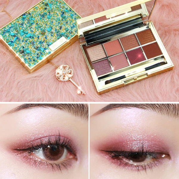 Eye Shadow Makeup Palettes Waterproof Earth Warm Shimmer 8 Color Matte Powder With Brush Suitable For Party Wedding Makeup