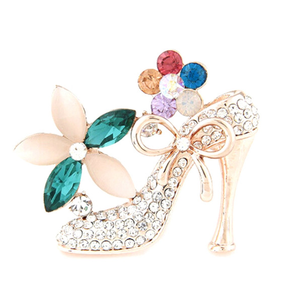 2018 New Design Fashion Jewelry Rhinestone High Heeled Shoes Brooch King Crystal Brooches Pins For Women Wholesale