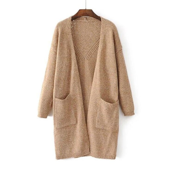 Hot Sell Girl Casual Long Knitted Cardigan Autumn Korean Women Loose Solid Color Pocket Design Sweater