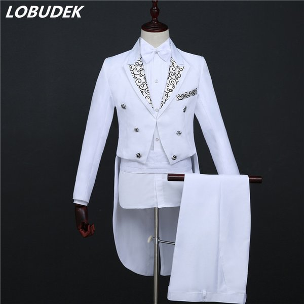 Black White Men's Suits Choral Dress Formal Tuxedo Costume Tailcoat Pants Set Married Suit male Swallowtail Singer Chorus Host Stage Costume