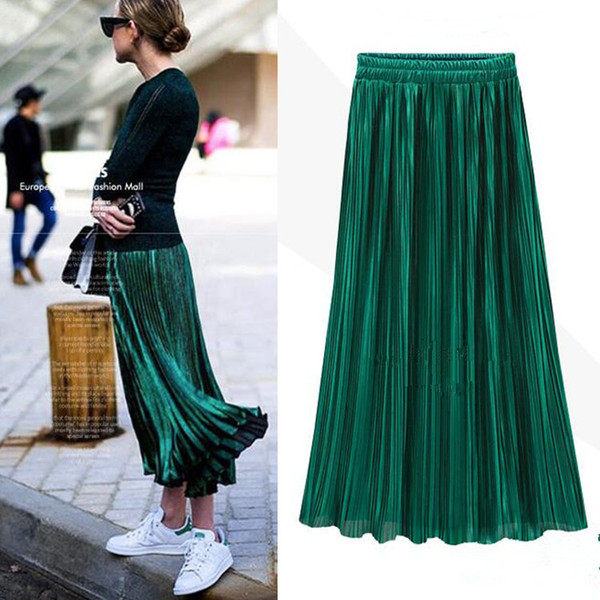 best selling Samuume 2018 Bright Gold Sequined Stretch High Waist Pleated Novelty Metallic Color Large Swing Saia Midi Skirts Female A1601018