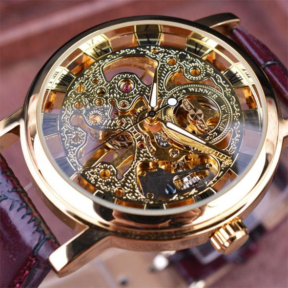 Winner Royal Carving Skeleton Brown Lederarmband Transparent Thin Case Skelett Design Uhr Uhren Herren Luxusmarke Uhr Herren