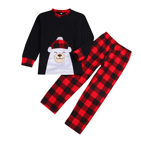 Xmas Baby girls boys outfits children Plaid Christmas Bear top+pants 2pcs/set Autumn kids lattice Clothing Sets C5401