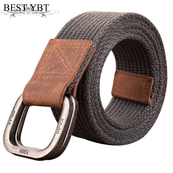 Best YBT Unisex Canvas belt retro Alloy double ring buckle Men belt casual fashion Men sport cowboy 120-150 cm