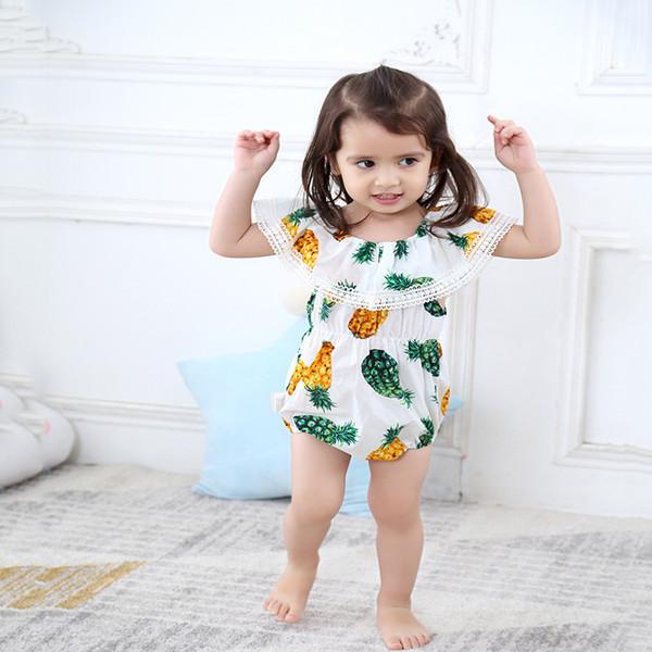 INS Baby Romper Summer Pineapple Printed Off Shoulder Big Lotus Leaf Collar Hip-hop Girl Romper Jumpsuits Baby Onesies Kids Clothing T13