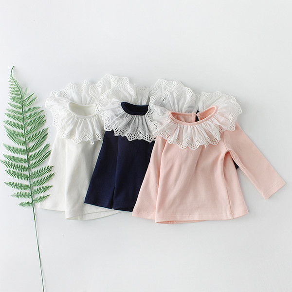 Baby top a maniche lunghe in pizzo colletto solido bianco nero rosa colore bambino neonate abbigliamento bambini ragazze tee