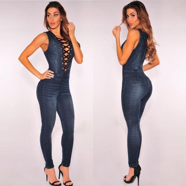 Sexy Bodysuit Women Jeans Jumpsuit for Women 2017 Summer Autumn Rompers Womens Jumpsuit Lace Up Combinaison Femme Plus Size XXXL