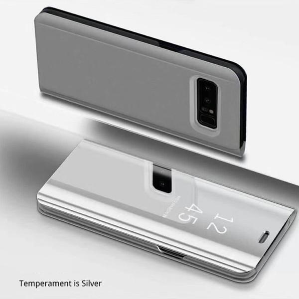 Custodia Telefono Custodia Placca Clear Smart Kickstand Mirror View Flip Cover Sleep wake Per iphone 6 7 8 X samsung galaxy S7 S8