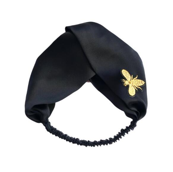 New golden embroidery bee silk hair band / elastic satin silk headband