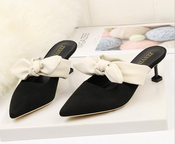 Women's Summer Shoes High Heel Bowtie Slippers Peep Toe Sandals Fashion Sexy Sandals Braided Foot Ring Square Heels Sexy Sandals
