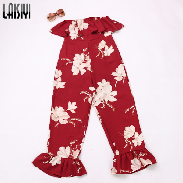 LAISIYI Summer 2018 Red Jumpsuit Off Shoulder Ruffles Bohemian Sexy Rompers Elegant Ladies Fitness Overall One Piece ASJU20242