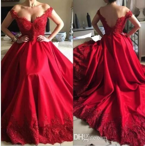 2018 Red Long Prom Dresses Off the Shoulder Short Sleeves Satin Lace Appliques Vestidos De Fiesta A Line Sweep Train Arabic Evening Gowns