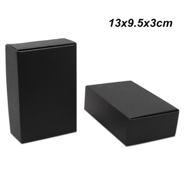 13x9.5x3 cm 30 Parça için Siyah Kraft Kağıt Kutusu Hediye Ambalaj Kutuları Doğum Günü Partisi Takı Inci Karton Şeker Kek Kurabiye Saklama Kutuları