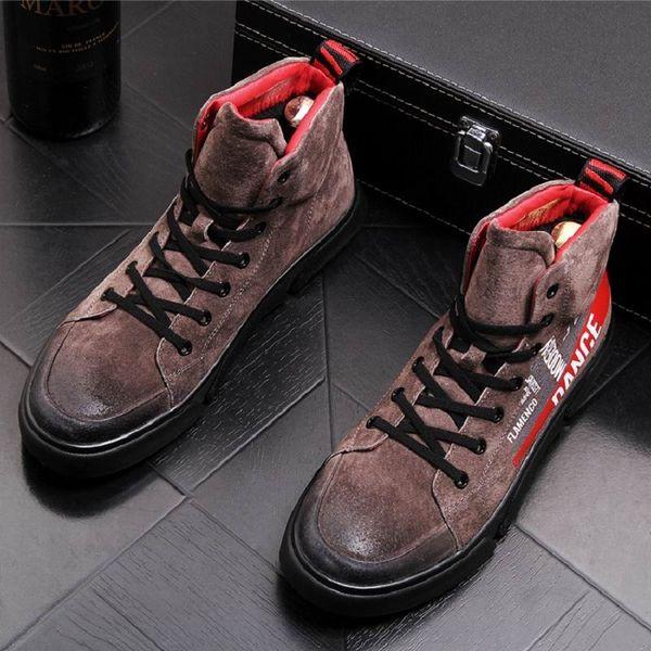 ERRFC 2018 Inverno Novo Mens Brown Martion Botas Vogue Lace Up Camurça Preta Cowboy Botas de Moda Homem Envelhecido Sapatos de Pelúcia Curto Quente