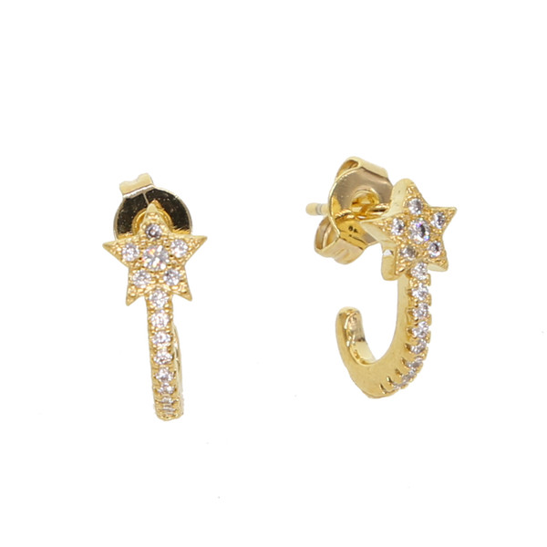 elegant star charm earring tiny mini cute girls jewelry tiny simple earring top quality delicate dainty cz stacking earring