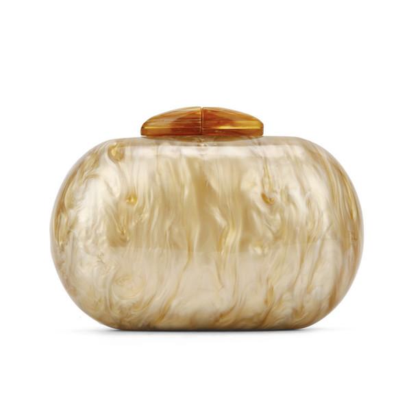 Weiße elliptische Acryl Clutch Bag 2018 Marmor Muster Frauen Luxus Abendtasche Handtasche weibliche Runde Champagner Farbe Hände Taschen