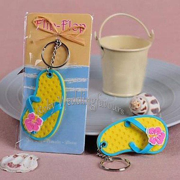 """100PCS Wedding Favor """"Flip Flop"""" Decorated Flower Key Ring Slipper keychain Party Favor Souvenir Beach Theme Event Giveaways Birthday Gifts"""