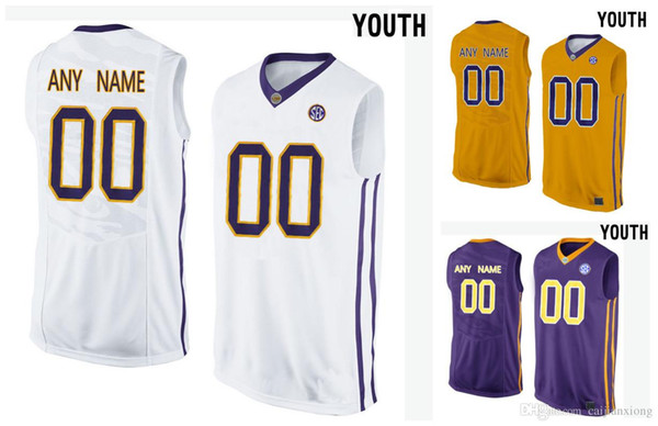 Youth LSU Tigers Customized College Basketball Elite Jersey - Gold -Purple  White 2a2f54ff8