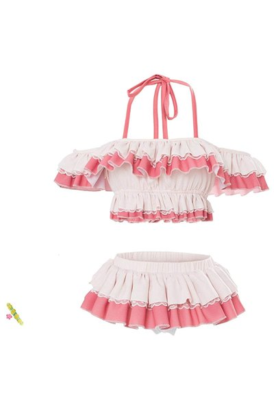 LoveLive!Sunshine!! Girls Ruby Kurosawa Cosplay Costume Cute Pink Swimsuit Beach Wear Skirt