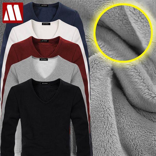 2017 Yüksek Kalite Sonbahar Kış Mens Sıcak Termal tshirt Adam Uzun Kollu Rahat V Boyun Kadife Kalın Artı Kalın T-Shirt Erkek Tees
