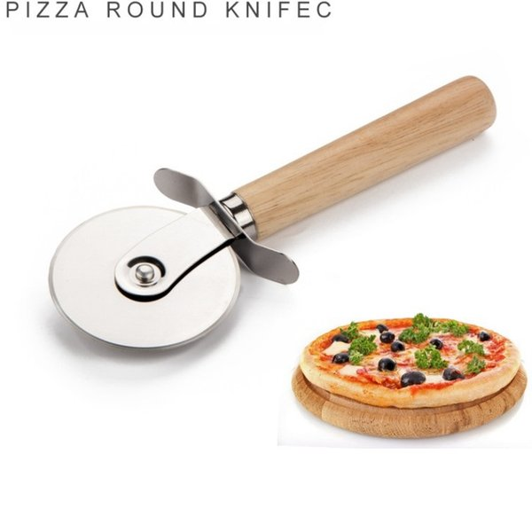 Pizza Cutters Stainless Steel Pizza Wheels With Wooden Handle Pizza Knife Pastry Pasta Dough Crimper Round Kitchen Tools 300PC wn425