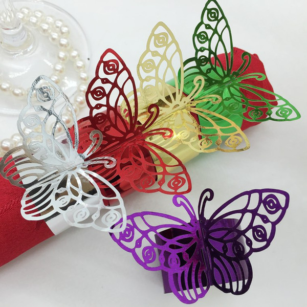 F4 240pcs Laser Cut Hollow Butterfly Paper Card Napkin Ring Serviette Buckle Holder Hotel Wedding Party Favour Decoration