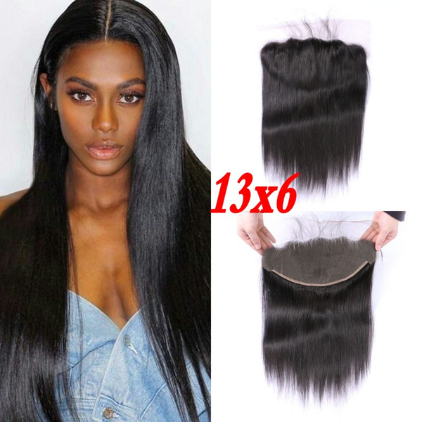 13x6 Ear to Ear Lace Frontal Closure Middle Free 3 Part Straight Indian Remy Human Hair Extenisons G-EASY