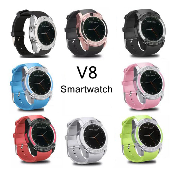 top popular V8 Smartwatch Bluetooth Smart Watches With 0.3M Camera SIM And TF Card Watch For Android System S8 Smartphone In Box 2021