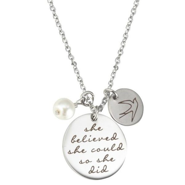 Fashion jewelry accessories Pearl necklace 'She believed she could so she did' Bird flying free in the sky