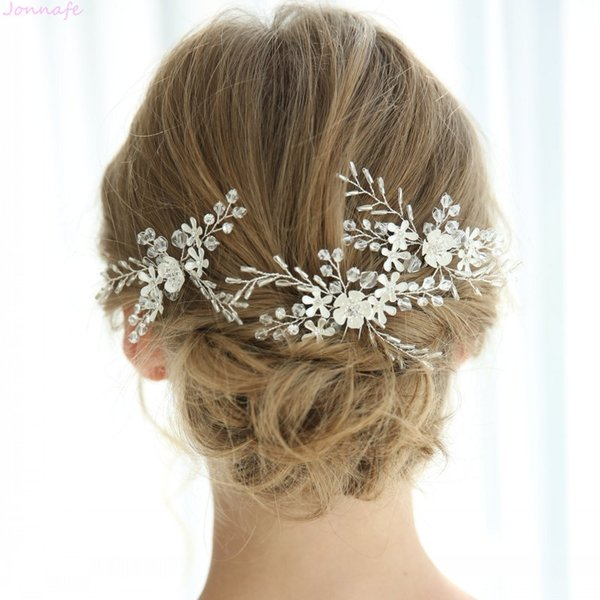 Charming Handmade Women Boddy Pins Silver Color Flower Wedding Jewelry Headpiece Bridal Hair Pin Clip Accessories