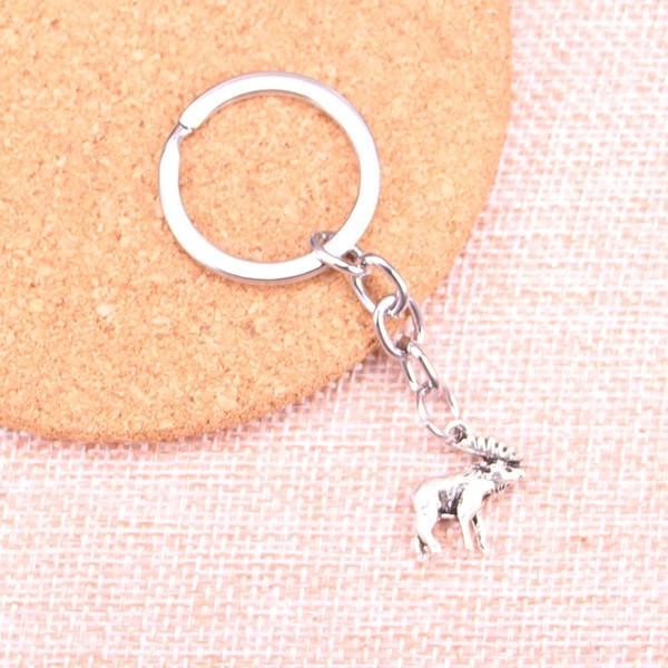 Moda 28mm Llavero Llavero de Metal Llavero Joyería Plata Antigua Plateada ciervos de alce 18 * 16mm Colgante