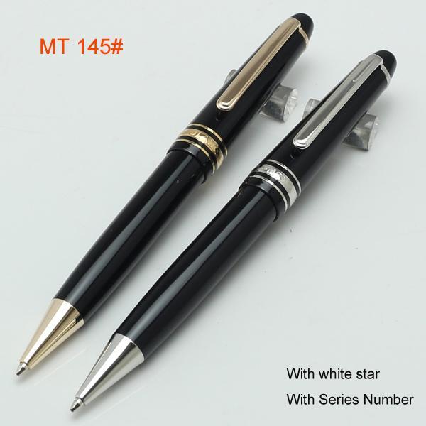 Resina de luxo preto e metal mb 145 rollerball caneta / Caneta esferográfica / fountain canetas material escolar suprimentos caneta blanc venda quente