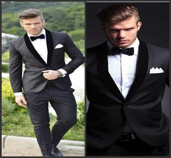 2018 New Groom Tuxedos Custom Made Charcoal Grey Best man Shawl Black Collar Groomsman Men Wedding Suits Bridegroom (Jacket+Pants+Bowtie)