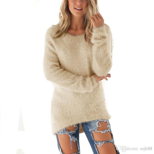 Frauen Pullover Gestrickte Pullover Lange Art Lose Tops Shirts Dame Allgleiches Sweatshirts Mode Dünne Wolle Oberbekleidung Freizeitkleidung