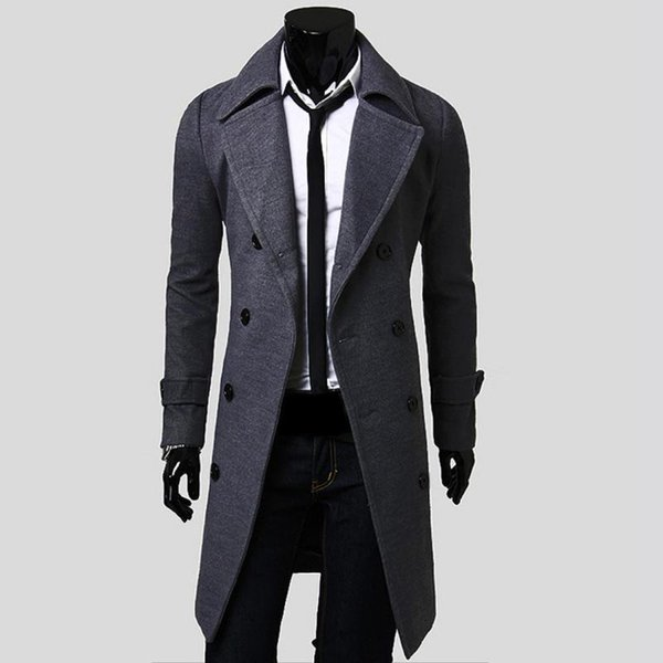 Wholesale- 2016 New Mens Trench Coat Slim Mens Long Jackets And Coats Overcoat Double Breasted Trench Coat Men Windproof Winter Outerwear
