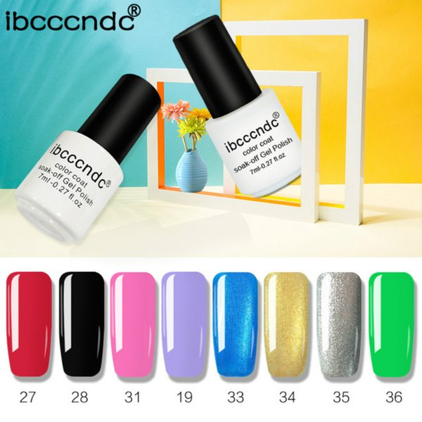 vendita all'ingrosso 8pcs / lot UV LED Pure di gel nudo smalto per unghie 7ml smalto semipermanente colorato moda gel per unghie gel ordinario