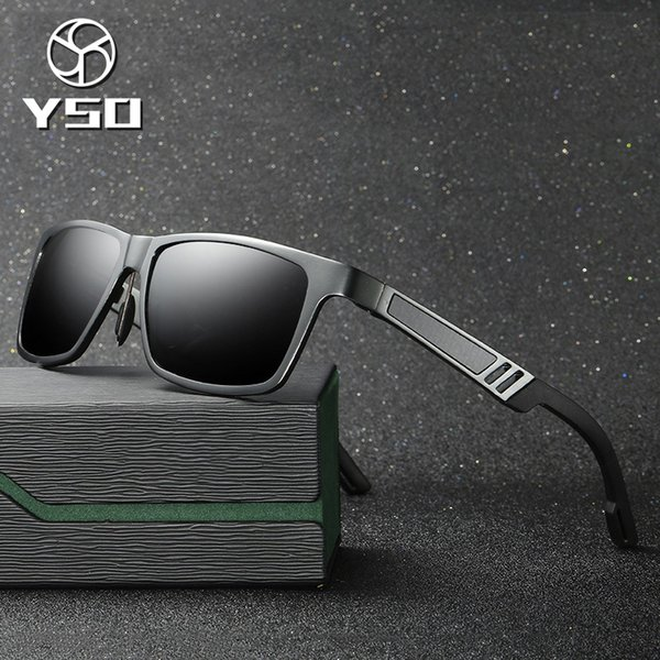 YSO Sunglasses Men Polarized UV400 Aluminium Magnesium Frame HD Lens Sun Glasses Driving Glasses Square Accessories For Men 6560