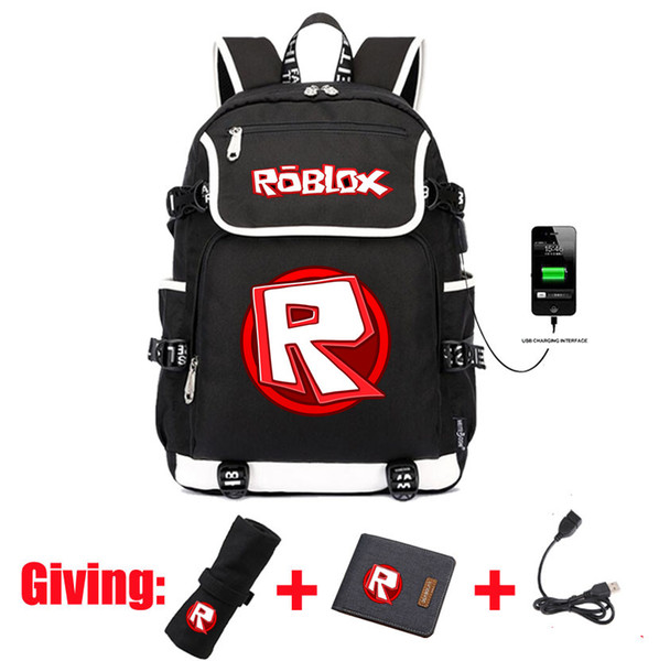 Jeu ROBLOX sac à dos USB Charge femme homme Sac à dos Sac de voyage bandoulière Sac à dos bandoulière Sac à dos pour ordinateur portable 3 pièces