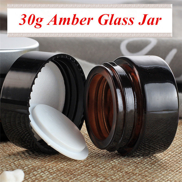 Hotting sale 30g amber cream jar brown color base bottle with black plastic UV screw lid 30ml glass cosmetic jar free shipping