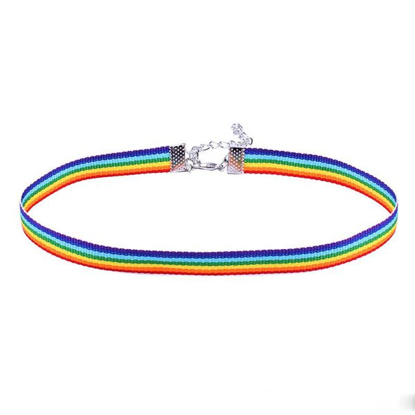 lace necklace men Women Gay Pride Rainbow Choker Necklace Gay and Lesbian Pride Lace Chocker Ribbon Collar with Pendant Jewelry