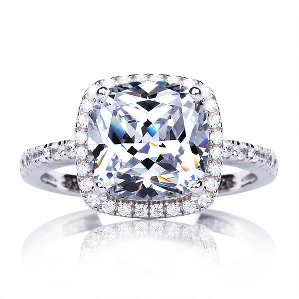 ZHF Jóias Real Sólido 925 Anel De Noivado de Prata Esterlina 4 Ct Cubic Zirconia CZ Anéis De Casamento para As Mulheres de Jóias