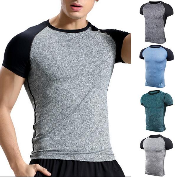 Vertvie Men's Muscle T Shirt Bodybuilding Fitness Men Tee Tops Singlets Compression Tshirts Short Sleeve Tshirt Sports Top