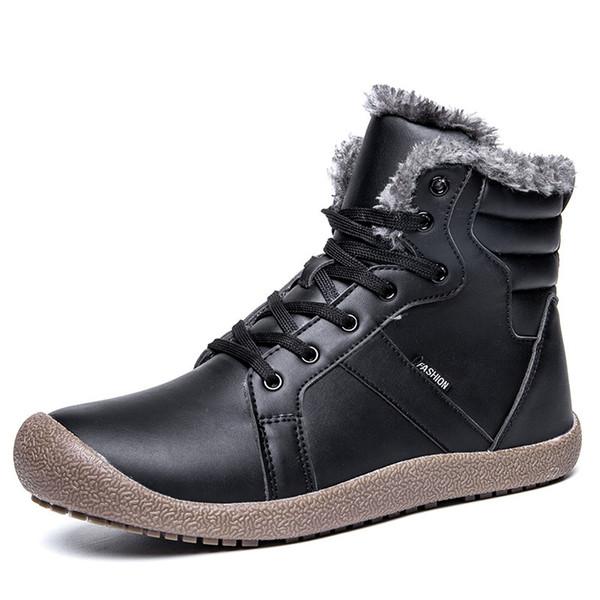 2018 Men Boots Platform Snow Boots for Men Thick Plush Waterproof Slip-resistant Winter Shoes Plus Size 36 - 48 Warm Plush