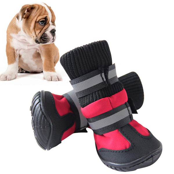 Hot Sale Shoes For Dogs High Waist Portable Boots Cotton Waterproof Boots Non-slip Rubber Sole Dog Shoes for large Dog Puppy 4pcs/set