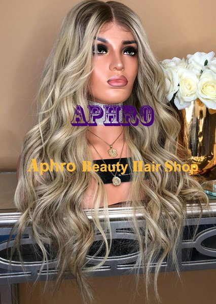 Luxury Brazilian Virgin Hair Ombre Blonde With Dark Roots Full Lace Wigs 5x5 Inch Silk Top 20&-30& 180% Density Blonde Wigs With Lowlights
